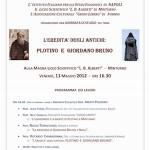 Locandina Giornata di studio su Plotino, 11 maggio 2012